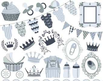 Prince Baby Shower clip art, boy baby shower, boy announcement, baby shower graphics, baby shower, vector EPS - Instant Download