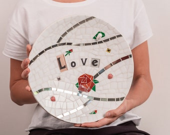 Unique handmade mosaic plate with love sing Love mosaic tiles Wedding souvenir dish Unique lovers gift for couple Large fruit plate 12 inch