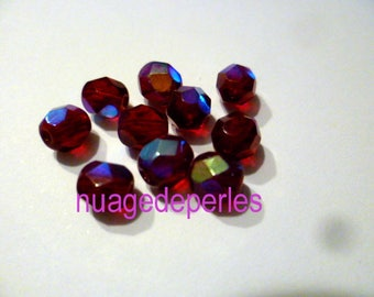 9 dark Ruby Red Swarovski round 6mm faceted Crystal beads