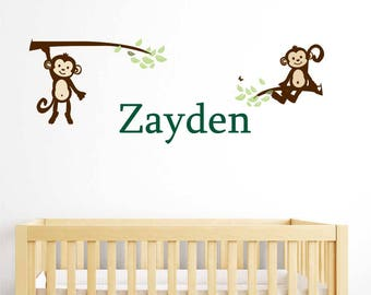Wall Decal  MONKEY large baby boy wall sticker nursery wall decal  Personalized Name Vinyl Wall Decal decoration for nursery or playroom