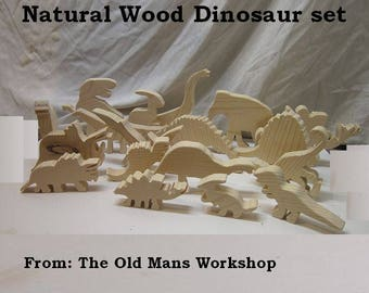 Natural Wood Dinosaur set, HandMade wooden Dinosaurs, Great gift for boys or Girls