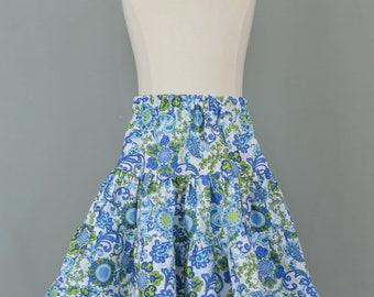 Girl's twirly skirt,Girls summer skirt,Girl's tiered skirt,Girl's ruffled skirt,Blue skirt,Flower print skirt