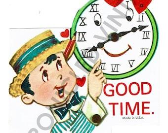 Vintage Valentine Digital Download Time Clock Boy