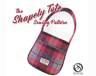 The Shapely Tote bag pattern . PDF Bag sewing pattern. Bucket bag. Purse Patterns and tutorials
