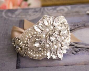 Bridal Cuff Bracelet, Wedding Bracelet, Bridal Cuff, Jeweled Wedding Cuff Bracelet, Vintage Inspired Wedding Cuff Bracelet, Bridal Bracelet