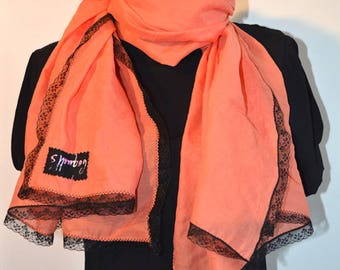 scarf colour apricot with black lace