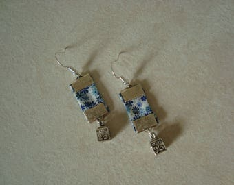 Liberty blue earrings with cube charm