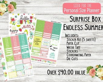 Planner Surprise Box - Endless Summer - Monthly Planner Stickers - Personal Planner Subscription Box - Mini Happy Planner - Mystery Box