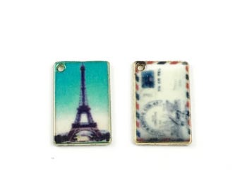 2 postcards charms enamel and gold tone metal, 18mm  #CH 510