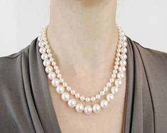 Hand Knotted Multistrand Pearl Necklace, Glass Pearl Necklace, Hand Knotted Pearls, Faux Pearl Necklace, Swarovski Pearls
