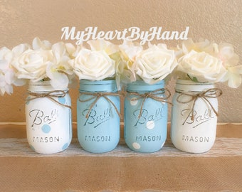 Blue Boy Baby Shower Centerpieces, Blue Polka Dots Painted Mason Jars, Rustic Home Decor, Boy Birthday Party, Baptism, Communion Centerpiece
