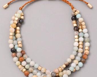Dainty Semi Precious Stone Bead Cord Bracelet.