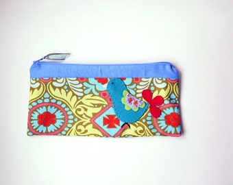 Zipper Pouch, Pencil Case, or Makeup Bag - Kashmir in okra, red, olive green, blue and pink with Handmade Felt Bird Embellishment