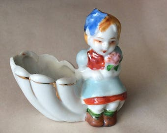Girl Figures sitting on Sea Shell Planters, Trinket Holders, Made in Japan , Ceramic / Porcelain