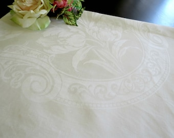 Fine Damask Tablecloth, Large White Special Occasion Vintage Table Linen, 86 x 72, Full Blown Tulips, Scrolls and Dots, Vintage Linens