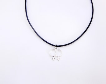 Venus Necklace, Double Venus Symbol Necklace, Charm Choker, Venus Choker, Lesbian Necklace, Feminist, Feminist Choker, Choker Necklace
