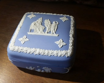 Box Wedgwood Blue Jasperware Classical Mythology Neoclassical Vintage