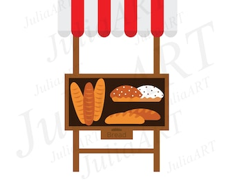 cartoon stalls and bread vector image
