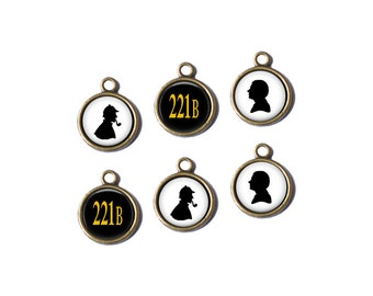 6 Sherlock Holmes Doctor Watson 221B Handcrafted Glass Charm
