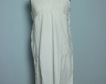 Vintage Antique French 1900s Edwardian white cotton dress, underdress, nightgown embroidered lace size S/M/L, primitive rustic farmer shabby