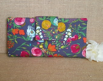 Womens Wallet, Fabric Wallet, Women's Bifold Wallet,  Floral Wallet