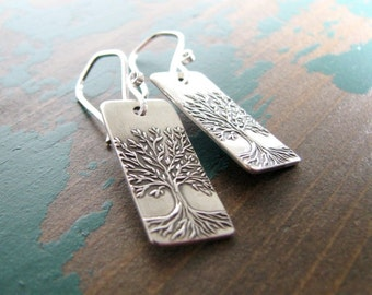 Spring, Fine Silver Tree Earrings, Artisan Handmade by SilverWishes, Original and Exclusive Design