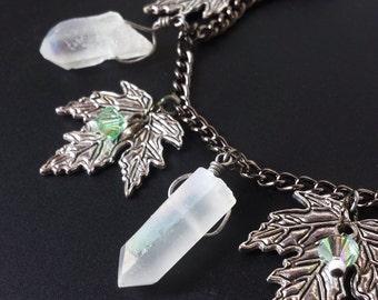 Silvan Woods Rainbow Aura Quartz Bracelet, forest bracelet with minty green Swarovski crystals, rainbow aura quartz, + silver maple leaves