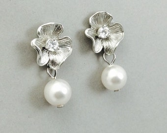 Pearl Earrings With Matte Silver Flower And White Swarovski Crystal Pearls