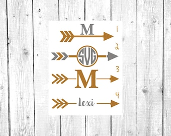 Arrow Decal, Arrow Monogram, Vinyl Decal, Yeti Decal, Car Decal, Gifts for her, Phone Decal, Laptop Decal, Yeti Cup