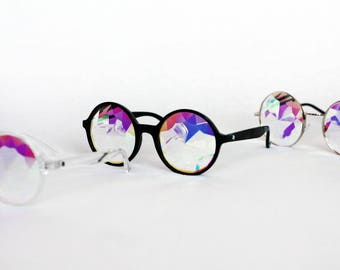 AUS FAST SHIPPING - Kaleidoscope Diffraction Glasses Circle Round Diamond Pattern Rave by Unicorn Vision (Clear, Black, Metal frame)