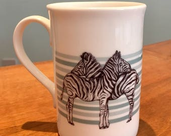 Zebra Teal China Mug - Gift