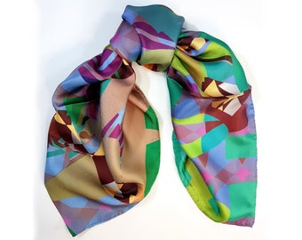 One-of-a-kind silk scarf No.74