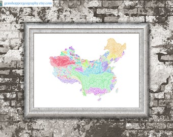 River basins of China in rainbow colours (high resolution digital print) map print, wall art, poster map, home decor, wall decor, printable