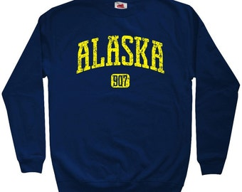 Alaska 907 Sweatshirt - Men S M L XL 2x 3x - Crewneck Alaska Shirt - 3 Colors