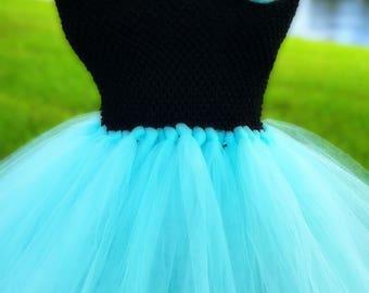 Black & Aqua Flower Girl Tutu Dress