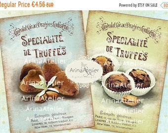 SALE 40% OFF - Shabby Chic Truffles - Large Images - Backgrounds - 5x7 inch - Digital Print - to print on- Tote, Bags, t-shirts Download