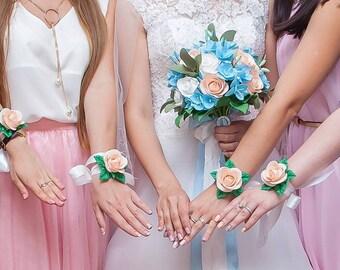 Wedding bouquet set Bridal Bouquet Bridesmaids bouquets Peach bridal bouquet Alternative wedding bouquet Flowers Blue wedding bouquet Roses