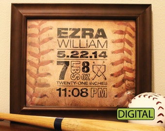 Custom Baseball Birth Announcement Poster 8x10 baby name stats Digital
