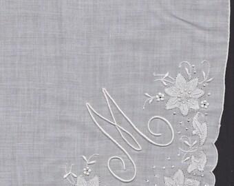Embroidered Hankie White Monogram Handkerchief Letter M