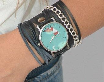 Cat Watch, Quartz Watch Womens, Wrap Watch, Navy Blue Leather Watch, Blue Leather Wrap Watch, Wrap Around Watch, Boho Watches, Hippie Watch