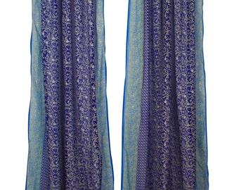 "96""L MIDNIGHT BLUE and TURQUOISE, Window Curtain, Indian Sari, semi sheer, blockprint, glitter, Rustic boho window, drape, Blue curtains"