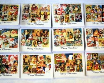 Vintage Santa Clause Collage - Notecards
