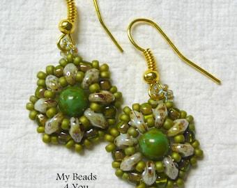 SuperDuo Beadwoven Earrings - Beadwork Earrings - Green Earrings - Beaded Earring -  SuperDuo - Jewelry Gift - Drop Earrings - MyBeads4You