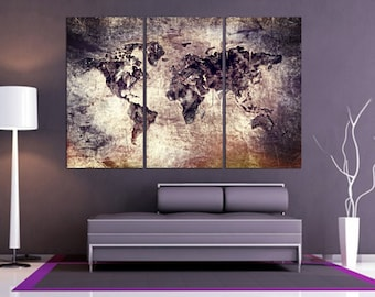 World Map Canvas Print, 3 Panel Split Art Dramatic look. Triptych, art for home/office wall decor & interior design. great for Holiday gift