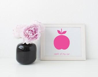 Pink Apple of my Eye printable art - nursery, kids room, instant download