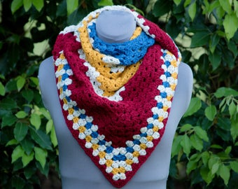 Triangle Shawl, Crochet, Crochet Triangle, Crochet Shawl, Granny Shawl, Christmas Gift, Birthday gift, Crochet Granny Shawl, Triangle Scarf