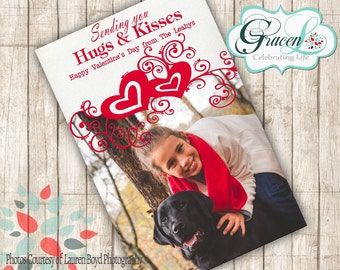 Valentine Photo Card, Happy Valentine's Day, Sending Hugs and Kisses Valentine's Day Card