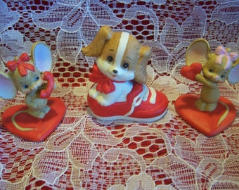 Three Lefton Valentine Figurines