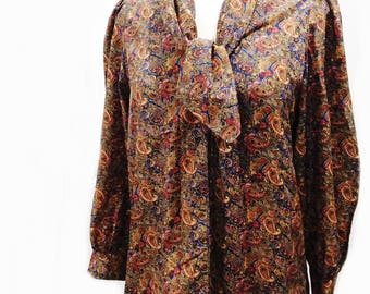 Vintage 80s paisley shirt/ handmade/ unique ascot tie/ / rich browns reds blues/ OOAK