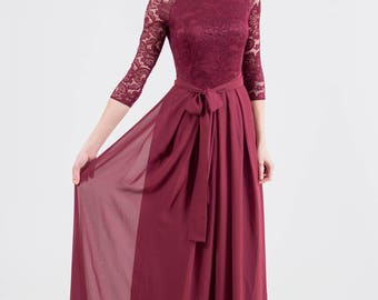 Long burgundy bridesmaid dress with sleeves Bridesmaid dress burgundy Long burgundy lace dress Burgundy prom dress long NEW LACE